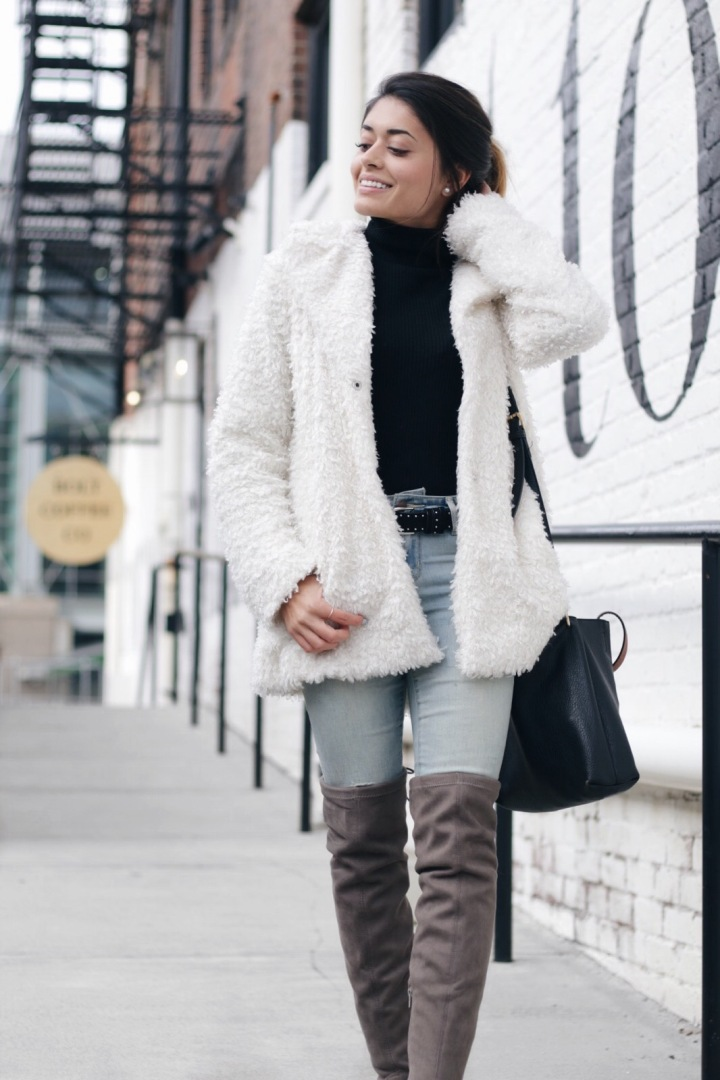 White Fur & Over-the-knee Boots